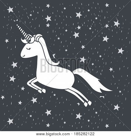 monochrome background with caricature of unicorn jumping in starry heaven vector illustration