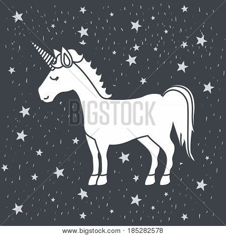 monochrome caricature of male unicorn in starry heaven vector illustration