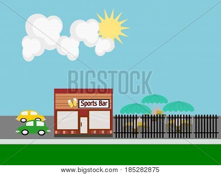Sports Bar flat design scene with fenced in patio and cars