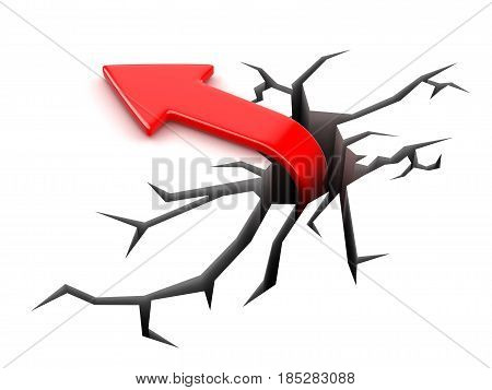 3D Ilustration. Arrow up. Image with clipping path