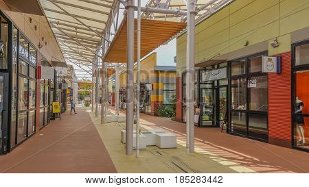OKINAWA JAPAN - April 22 2017: Ashibina Outlet Mall in Okinawa Japan . Ashibina is Okinawa's first ever outlet mall with 70 world brands gathered in one location.