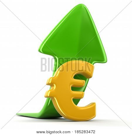 3D Ilustration. Euro sign and arrow up. Image with clipping path