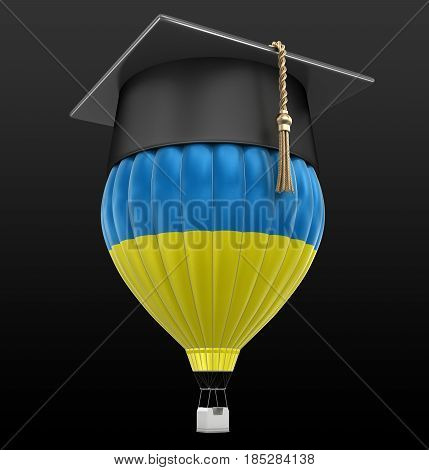 3D Ilustration. Hot Air Balloon with Turkish flag and Graduation cap. Image with clipping path