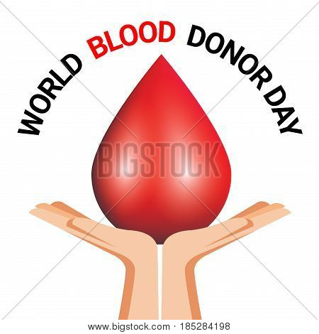 Hand Holding blood drop for World Blood Donor Day poster