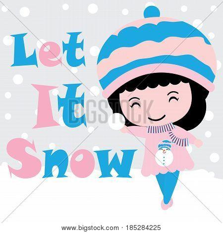 Cute girl plays snow vector cartoon, Xmas postcard, wallpaper, and greeting card, T-shirt design for kids