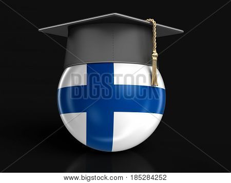 3D Ilustration. Graduation cap and Finnish flag. Image with clipping path