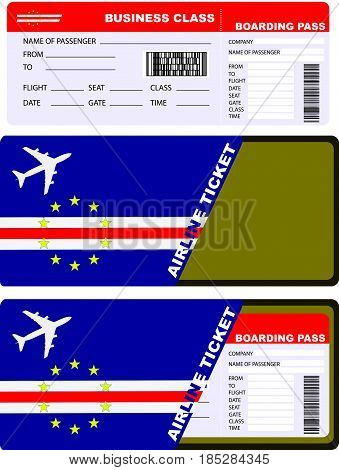 Plane ticket in business class flight to Cape Verde. Service kit air ticket.