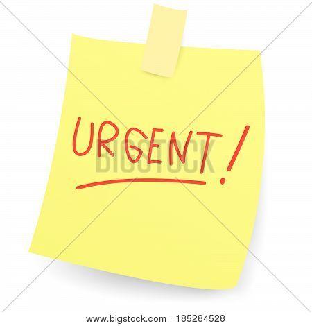 Vector illustration of urgent message on sticky paper