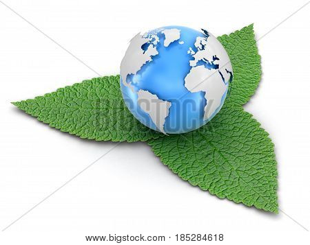 3D Ilustration. 3d Globe on leaves. Image with clipping path
