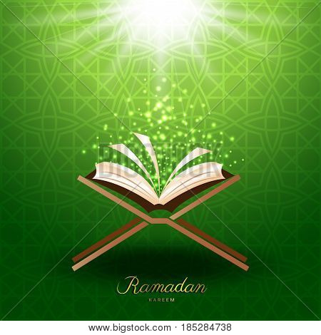 Muslim Quran with magic light on green background for ramadan of Islam