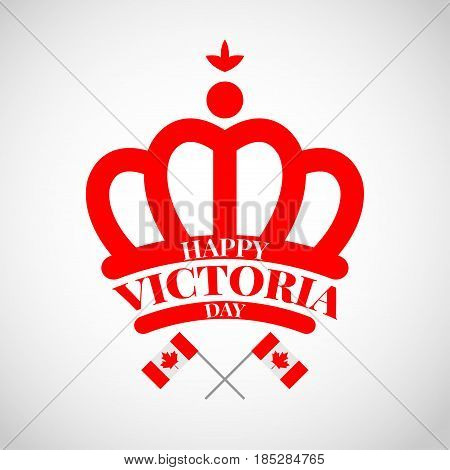 Red crown with flag Canada for celebrate the Victoria day