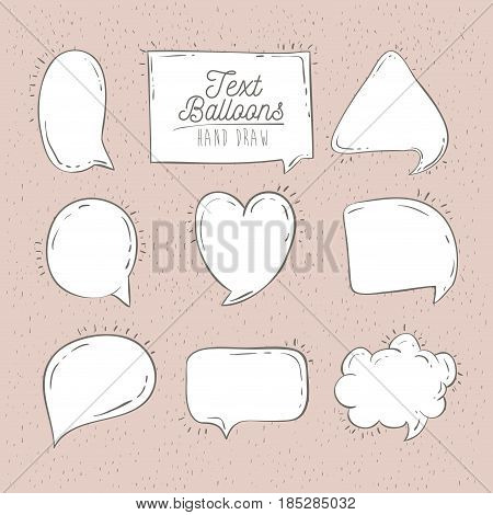 color frame hand drawn of text balloons vector illustration