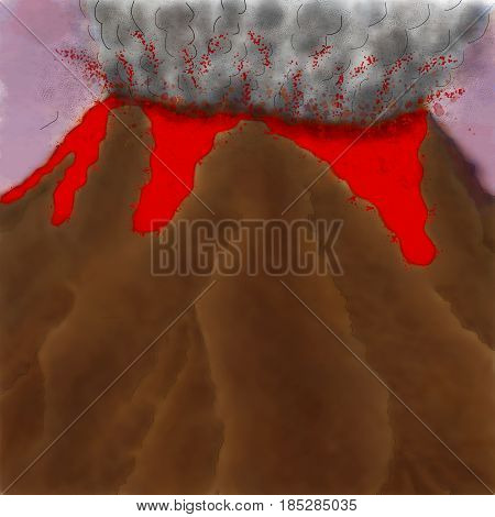 Illustration of blasting volcano in full eruption