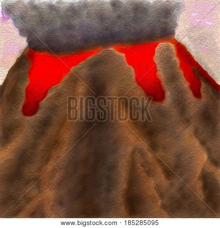 Illustration of dangerous volcano in full eruption