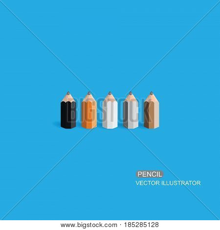 Pencil. Flat Design vector Eps 10 icon.