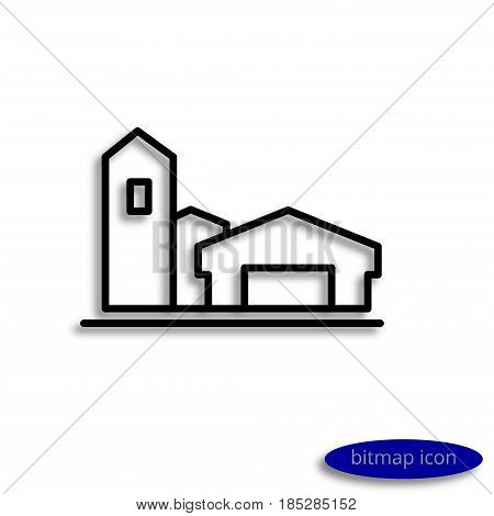 A simple raster linear image of agricultural buildings a line icon for an agricultural farm.