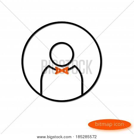 A Simple Illustration Of A Shadow Casting A Silhouette Of Men With An Orange Bow Tie, A Flat Line Ic