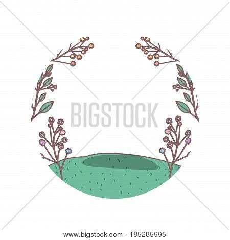 white background with floral landscape and grassy field in circular frame vector illustration