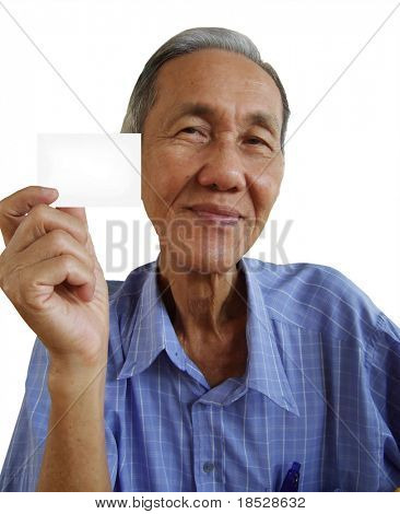 Senior chinese man showing and a business card poster