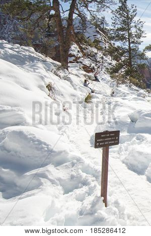 Trail through snow on Scouts Lookout on Angels Landing Hiking Trail in Zion National Park in Utah USA