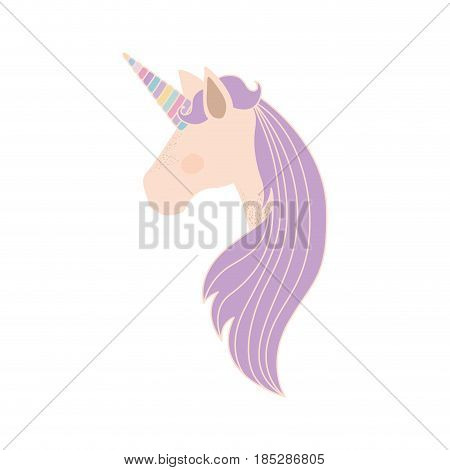 white background with faceless side view of unicorn and long striped mane vector illustration