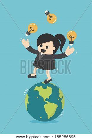 Business woman play gymnast bulbs light on earth