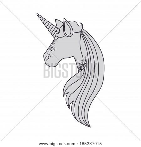 white background with gray faceless side view of unicorn and long striped mane vector illustration