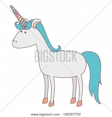 white background with cartoon unicorn standing with blue mane vector illustration