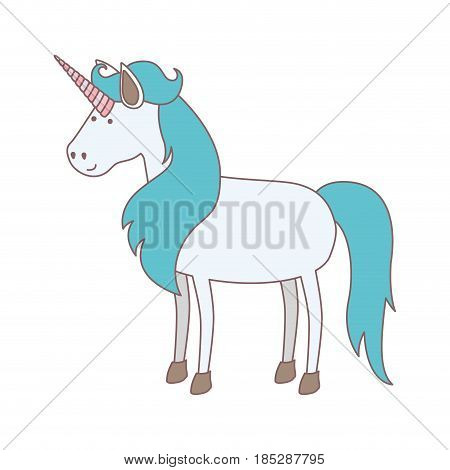 white background with cartoon unicorn standing with long blue mane vector illustration