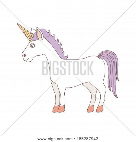 white background with caricature unicorn standing and purple mane vector illustration