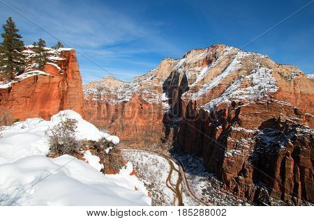 View from Scouts Lookout on Angels Landing Hiking Trail overlooking Virgin River Canyon in Zion National Park in Utah USA