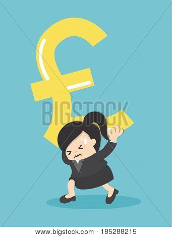 Business Woman silver pound symbol money on shoulder and worry