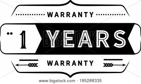 1 years warranty vintage grunge rubber stamp guarantee background