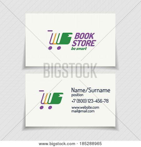 Business card with book store logo consisting of books different color and silhouette shopping cart for use bookshop, market, sale etc. Vector Illustration