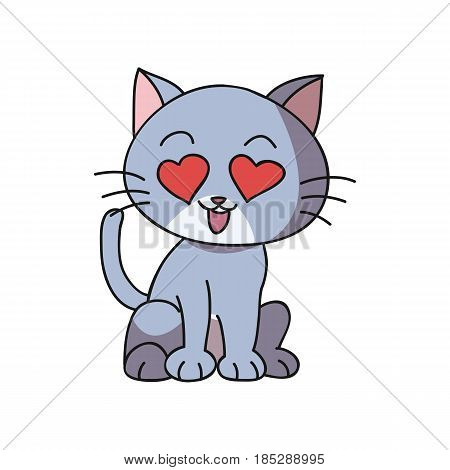 Vector of Cartoon Cat for Coloring and Drawing Book