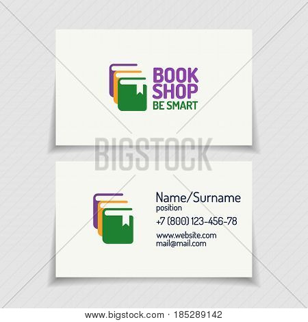 Business card with book shop logo consisting of silhouette books different color for use bookstore, market, sale etc. Vector Illustration