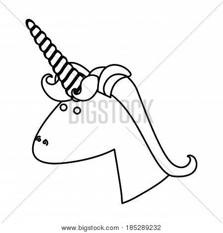 monochrome silhouette of face side view of male unicorn with mane vector illustration