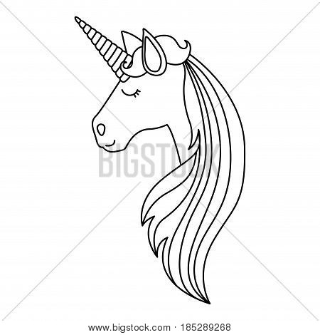 monochrome silhouette of face side view of female unicorn and long striped mane vector illustration