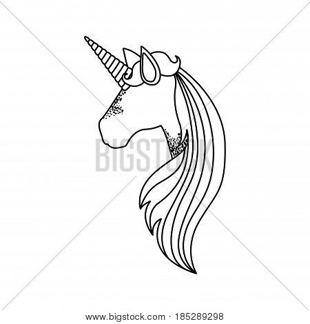 monochrome silhouette of faceless side view of unicorn and long striped mane vector illustration