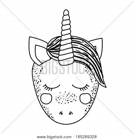 monochrome silhouette of front face caricature unicorn with closed eyes and mane vector illustration