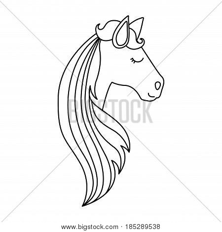 monochrome silhouette of face side view right of female unicorn and long striped mane vector illustration