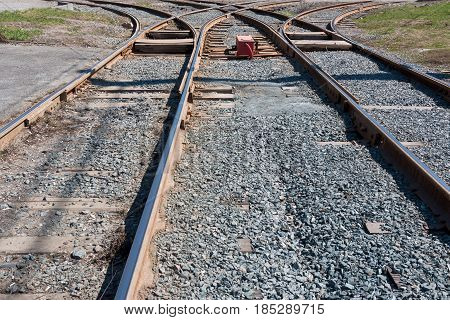 Crossing railway tracks rails and sleepers railroad