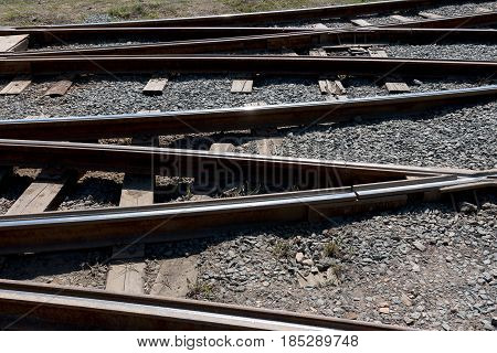 a Crossing railway tracks rails and sleepers