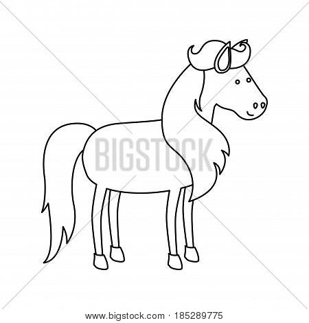 monochrome silhouette of cartoon unicorn standing with long mane and looking towards the right vector illustration