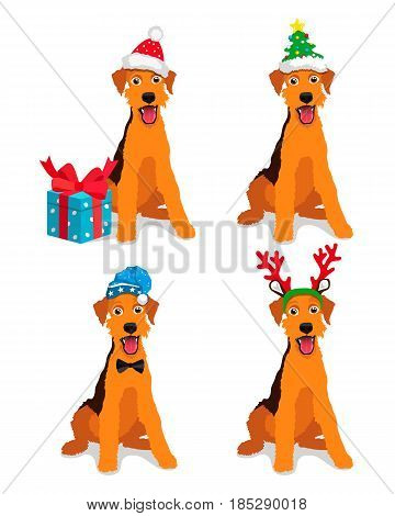 Cute dog - Airedale terrier breed in a New Year hat. Vector illustration on a blue background. Friend of human. Symbol of the 2018.