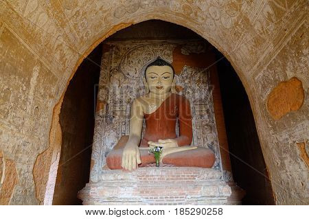 Buddha Statue At Temple In Bagan, Myanmar