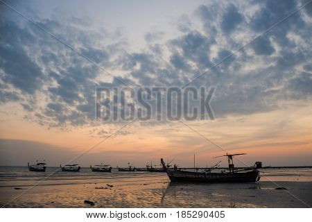 Fishing Boats And Cloud Sky At Sea Thailand