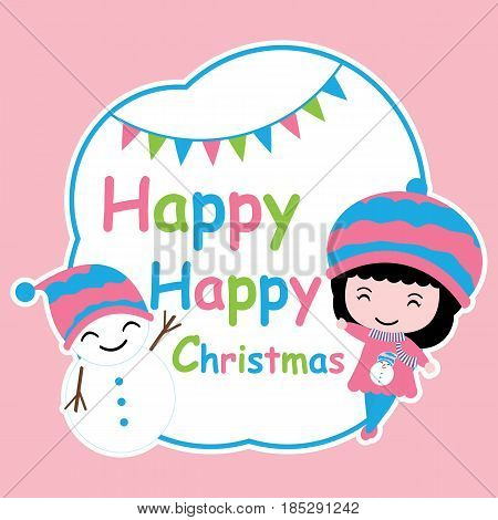 Cute girl and snowman on blue frame vector cartoon, Xmas postcard, wallpaper, and greeting card, T-shirt design for kids