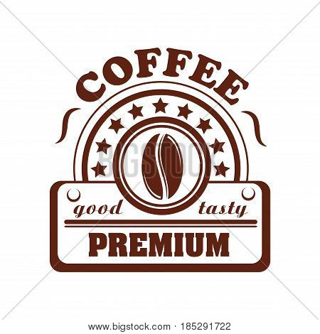 Coffee vector icon for premium product, cafe or cafeteria label design. Symbol of coffee bean and stars for coffeeshop of coffeehouse drinks menu espresso or cappuccino and americano
