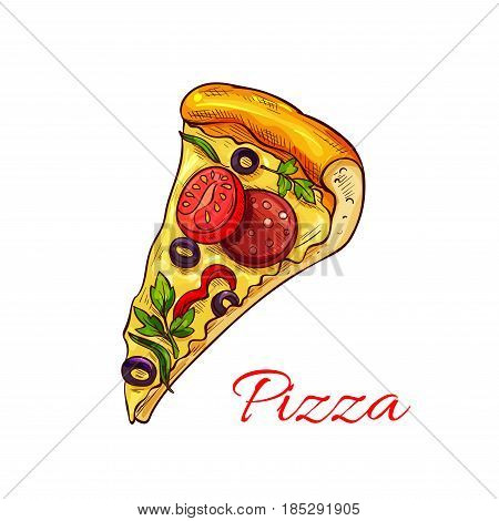 Pizza slice for fast food or pizzeria restaurant menu design. Vector isolated pizza piece margherita with mozzarella cheese, napoletana or capricciosa with salami and marinara mushroom